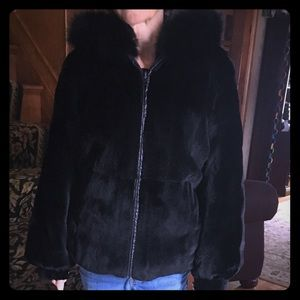 Genuine Mink reversible to leather hooded jacket